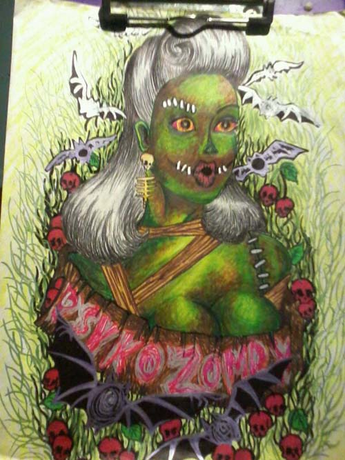 psychozomby by zombree, zombie drawings, zombie artwork