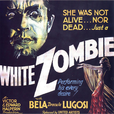 white zombie movie poster, zombie movies